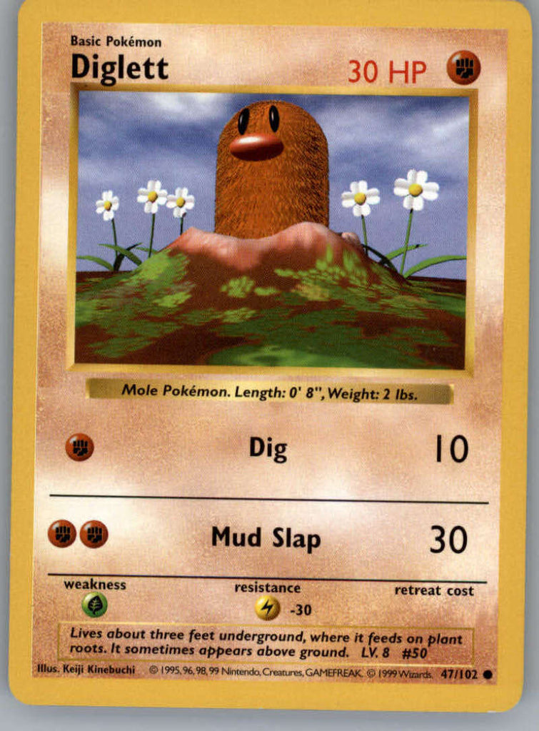 Diglett Pokemon Original Base Set Trading Card 47/102 SHADOWLESS Common NM to Mint