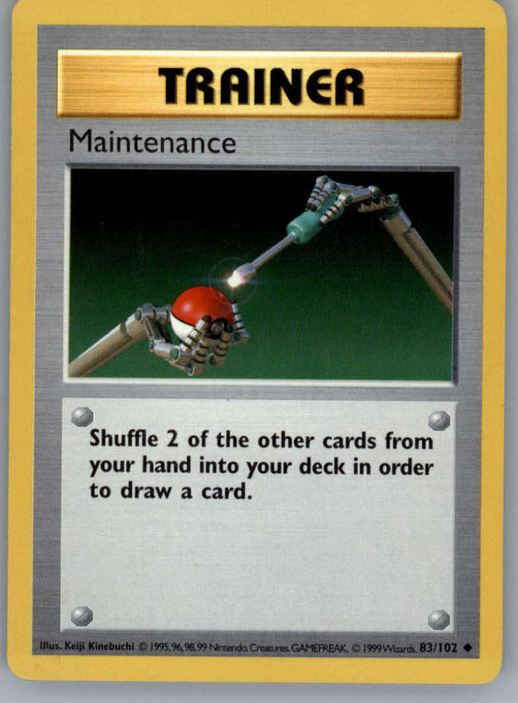Maintenance Pokemon Original Base Set Trading Card 83/102 SHADOWLESS Uncommon Trainer NM to Mint