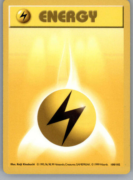 Lightning Energy Pokemon Original Base Set Trading Card 100/102 SHADOWLESS Common NM to Mint
