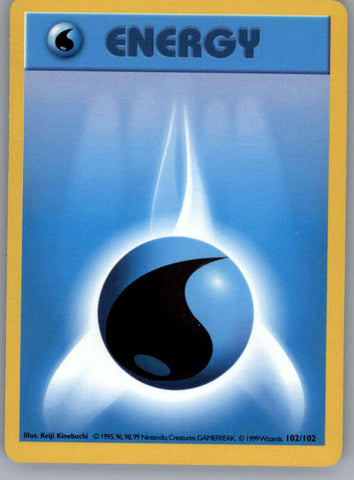 Water Energy Pokemon Original Base Set Trading Card 102/102 SHADOWLESS Common NM to Mint