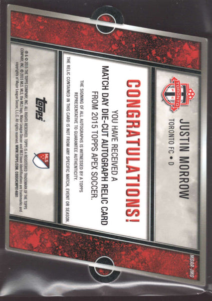 2015 Topps APEX MLS Match Day Die Cut Autograph Relics #mdar-jmo Justin Morrow NM-MT Jersey Auto