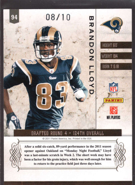 2011 Panini Plates and Patches Infinity Platinum #94 Brandon Lloyd NM-MT+ /10