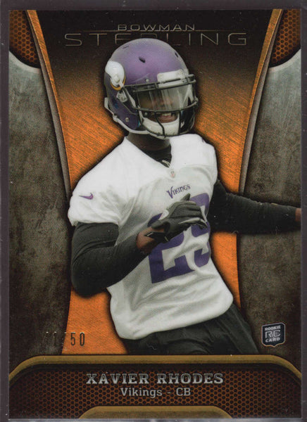 2013 Bowman Sterling Gold Refractor #63 Xavier Rhodes NM-MT+ RC Rookie /50