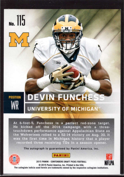 2015 Contenders Draft Picks Season Ticket Auto #115 Devin Funchess