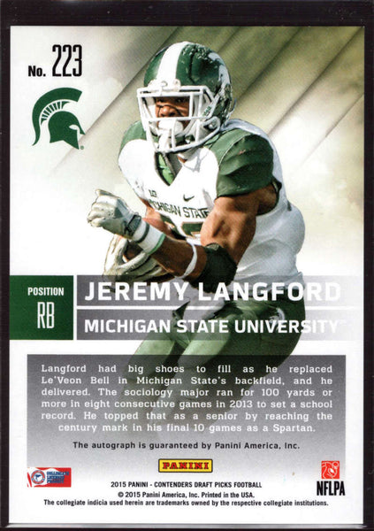 2015 Contenders Draft Picks Season Ticket Auto #223 Jeremy Langford