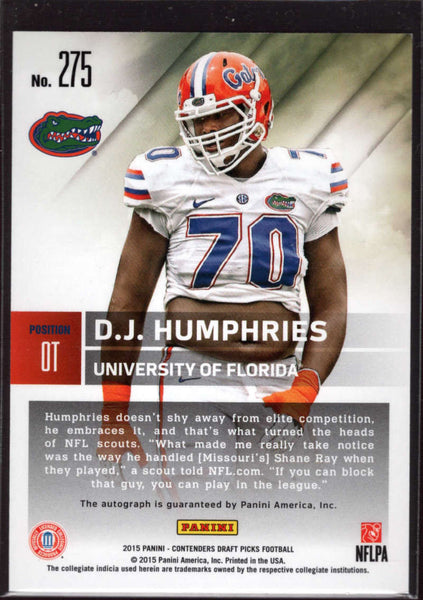 2015 Contenders Draft Picks Season Ticket Auto #275 D.J. Humphries