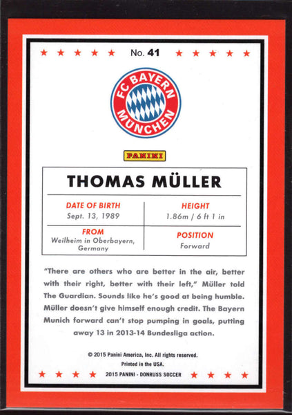 2015 Donruss Silver Press Proof #41 Thomas Muller NM-MT+ /199