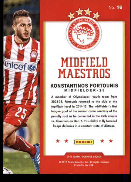 2015 Donruss Midfield Maestros Red Soccer Ball #16 Konstantinos Fortounis NM-MT+ /49