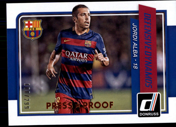 2015 Donruss Defensive Dynamos Bronze Press Proof #5 Jordi Alba NM-MT+ /299