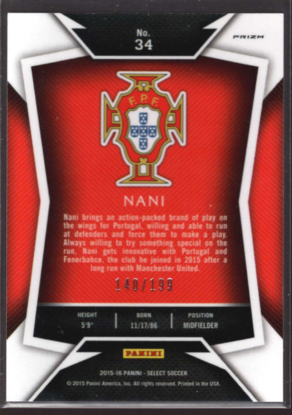 2015 Panini Select Red #34 Nani Mint /199