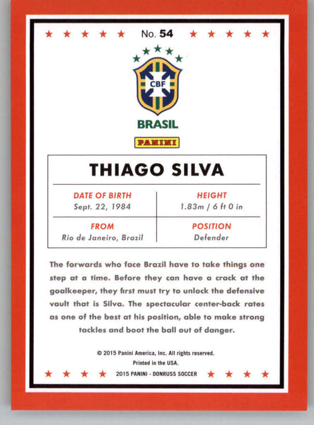 2015 Donruss National Team Photo Variations Red Soccer Ball #54 Thiago Silva NM-MT /49