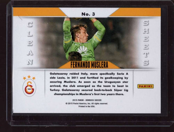 2015 Donruss Clean Sheets Green Soccer Ball #3 Fernando Muslera Mint /25