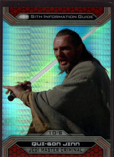 2015 Topps Star Wars Chrome Perspectives: Jedi vs Sith Prism Refractor #10-S Qui-Gon Jinn Mint /199
