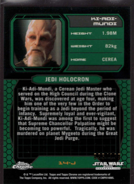 2015 Topps Star Wars Chrome Perspectives: Jedi vs Sith Prism Refractor #14-J Ki-Adi-Mundi Mint /199
