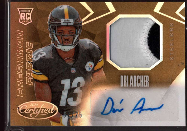 2014 Panini Certified Freshman Fabric Mirror Gold Signatures #219 Dri Archer NM-MT+ RC Rookie Jersey Auto /25