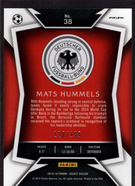 2015 Panini Select Variation Red #38 Mats Hummels Mint /199