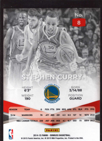 2014-15 Donruss Elite #8 Stephen Curry Mint