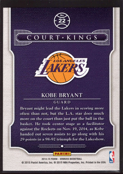 2014-15 Donruss Court Kings #22 Kobe Bryant Mint