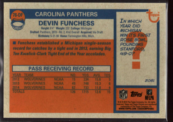 2015 Topps Chrome 1976 Topps Pulsar Refractor #76-df Devin Funchess Mint /50