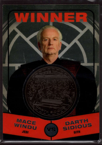 2015 Topps Star Wars Chrome Perspectives: Jedi vs Sith Gold Medallions #21 Winner: Darth Sidious NM-MT Jersey /50