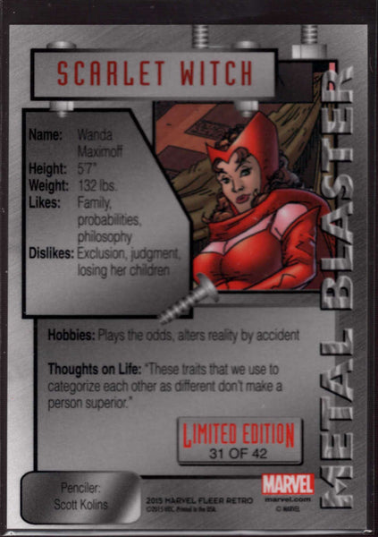 2015 Fleer Retro Marvel 1995 Fleer Marvel Metal Blaster #31 Scarlet Witch Mint