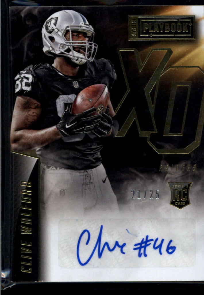 2015 Panini Playbook Rookie Xs and Os Signatures Gold #5 Clive Walford Mint Auto /25