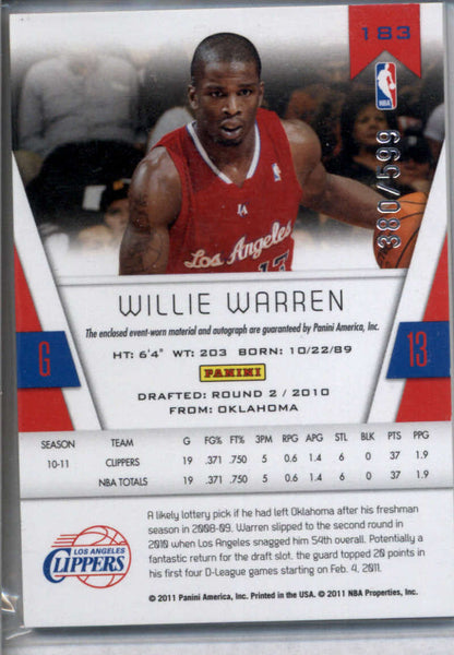 2010-11 Panini Totally Certified Rookies Autographs #183 Willie Warren Mint RC Auto /599