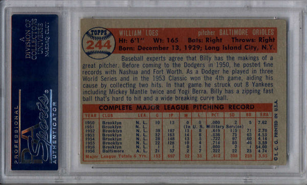 1957 Topps #244 Billy Loes PSA 4 VG-EX
