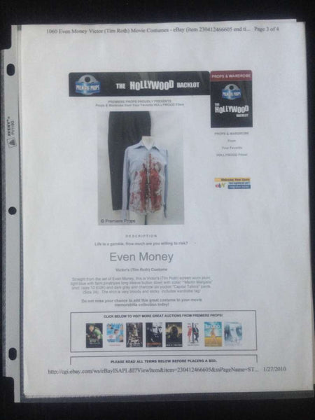 "Even Money Tim Roth ""Victor"" Death Scene Costume Outfit Screen-Used Premiere Props COA"