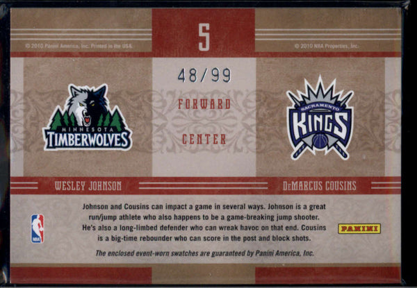 2010-11 Panini Timeless Treasures NBA Apprentice Combo Materials #5 DeMarcus Cousins/Wesley Johnson Mint Rookie Jersey P