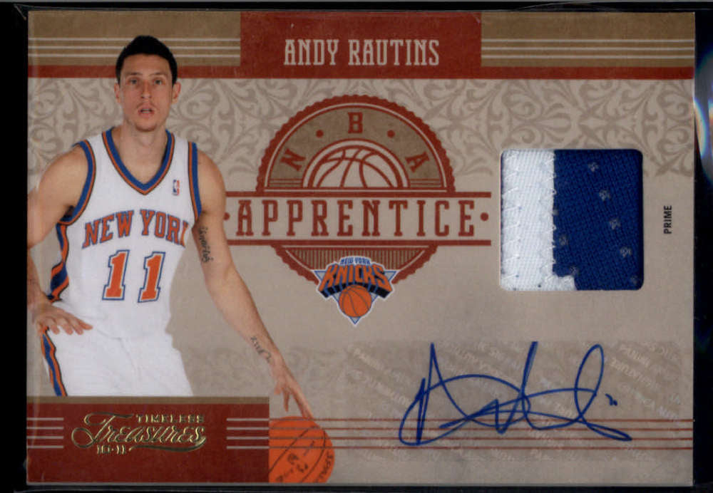 2010-11 Panini Timeless Treasures NBA Apprentice Signature Materials Prime #33 Andy Rautins Mint Rookie Jersey Patch Aut
