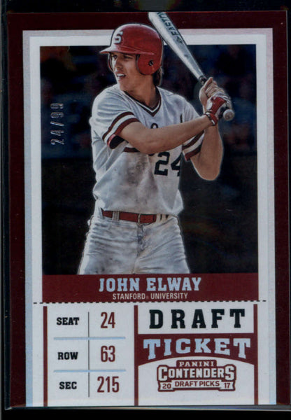 2017 Panini Contenders Draft Picks Draft Ticket Variations #10 John Elway Mint /99