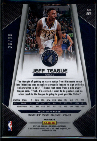 2017-18 Panini Prizm Prizms Blue Ice #83 Jeff Teague Mint /99