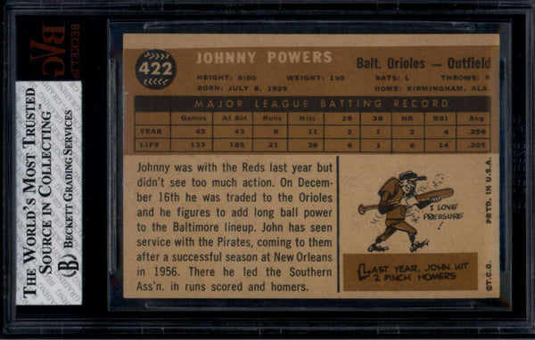 1960 Topps #422 John Powers BGS BVG 5 EX WHITE BACK