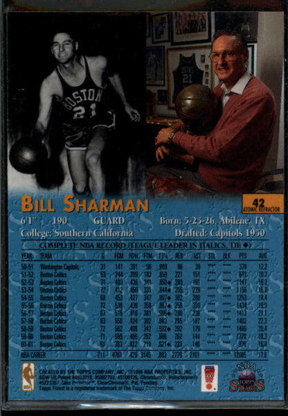 Bill Sharman 1996-97 Topps Stars Atomic Refractor #42 Boston Celtics
