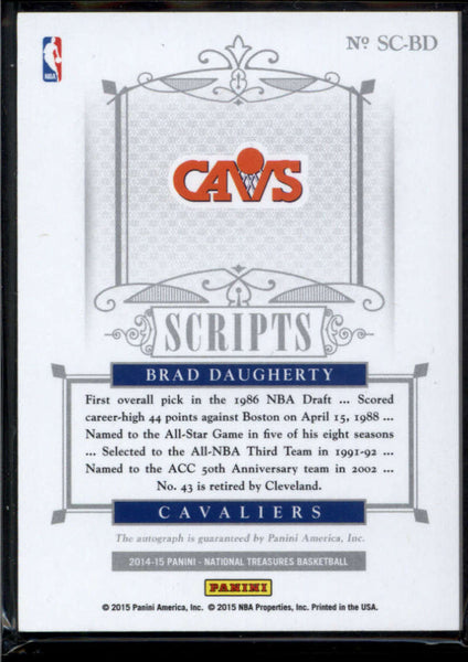 2014-15 Panini National Treasures Scripts #42 Brad Daugherty Auto /75 Cleveland Cavaliers