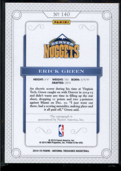 2014-15 Panini National Treasures Rookie Autographs #140 Erick Green Auto /99 Denver Nuggets