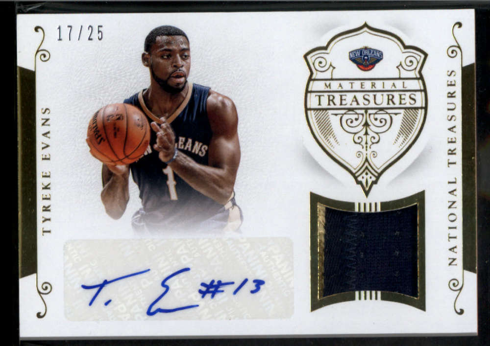 2014-15 Panini National Treasures Material Treasures Signatures Prime #60 Tyreke Evans Jersey Patch Auto /25 New Orleans