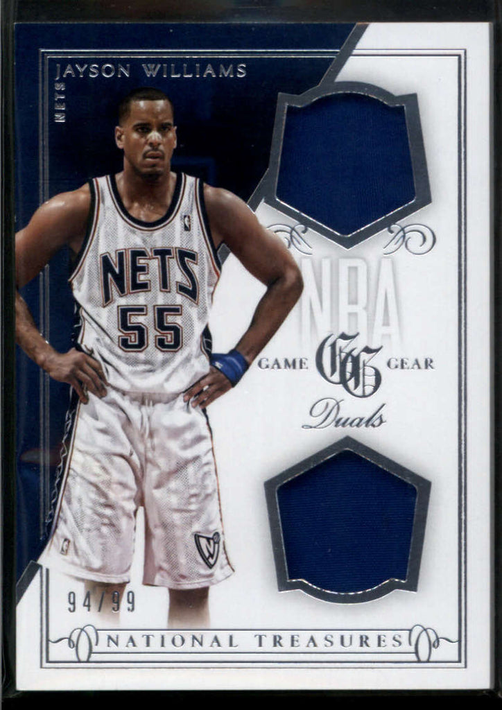 2013-14 Panini National Treasures NBA Game Gear Duals #66 Jayson Williams Jersey Patch /99 New Jersey Nets