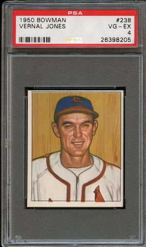 1950 Bowman #238 Vernal Jones PSA 4 VG-EX RC St. Louis Cardinals