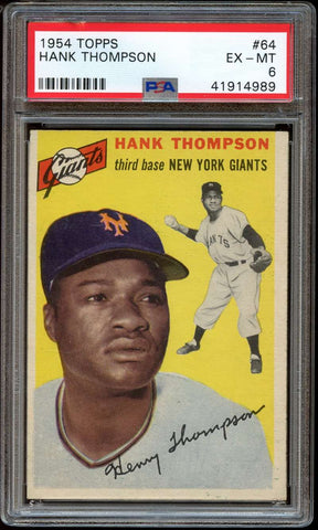 1954 Topps #64 Hank Thompson PSA 6 EX-MT New York Giants