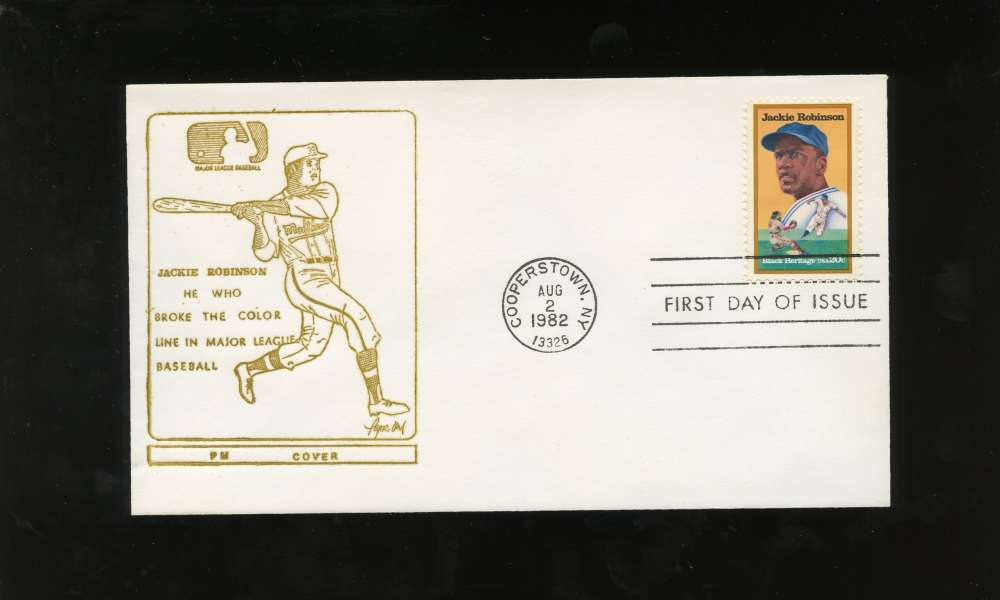 Jackie Robinson First Day Issue Yellow Drawing Black Heritage Series Letter Envelope Cooperstown Stamp Brooklyn Dodgers