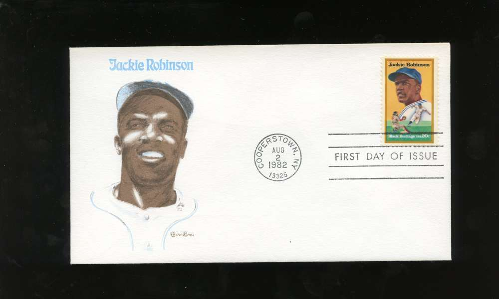 Jackie Robinson First Day Issue Black & White Portrait Black Heritage Series Letter Envelope Cooperstown Stamp Brooklyn Dodgers