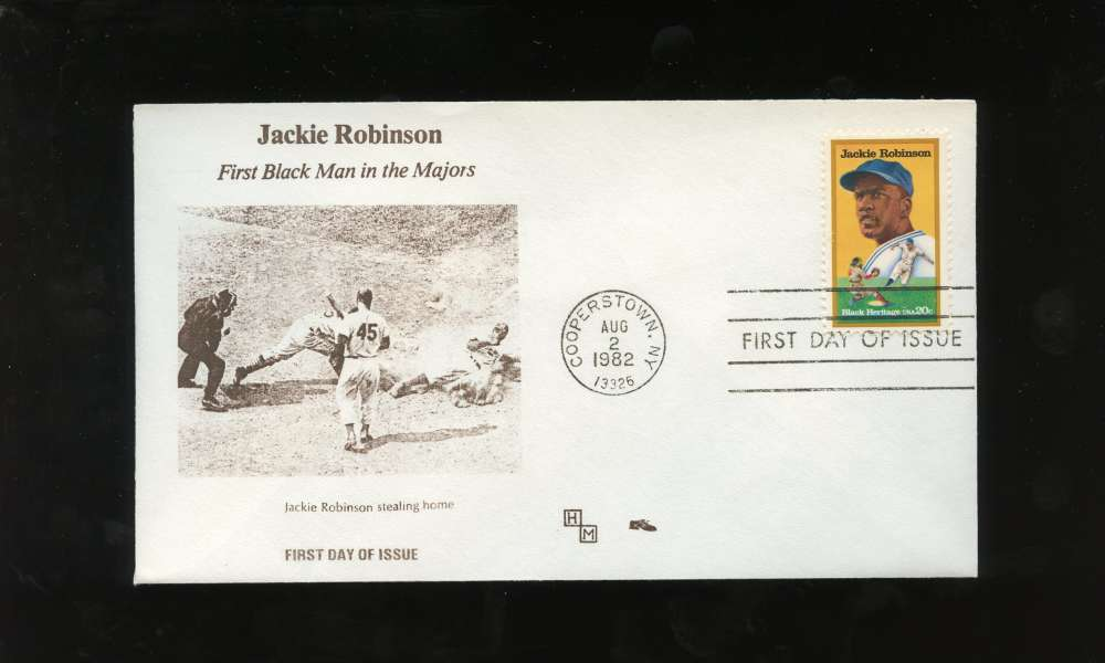 Jackie Robinson First Day Issue Stealing Home Slide Black Heritage Series Letter Envelope Cooperstown Stamp Brooklyn Dodgers