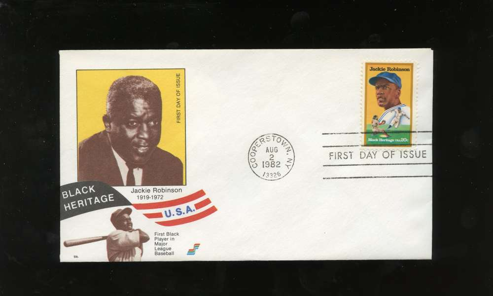 Jackie Robinson First Day Issue Sepia Photo Black Heritage Series Letter Envelope Cooperstown Stamp Brooklyn Dodgers