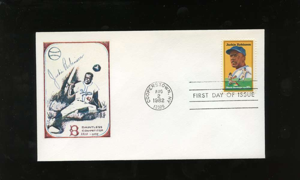 Jackie Robinson First Day Issue Stealing Home Drawing Black Heritage Series Letter Envelope Cooperstown Stamp Brooklyn Dodgers