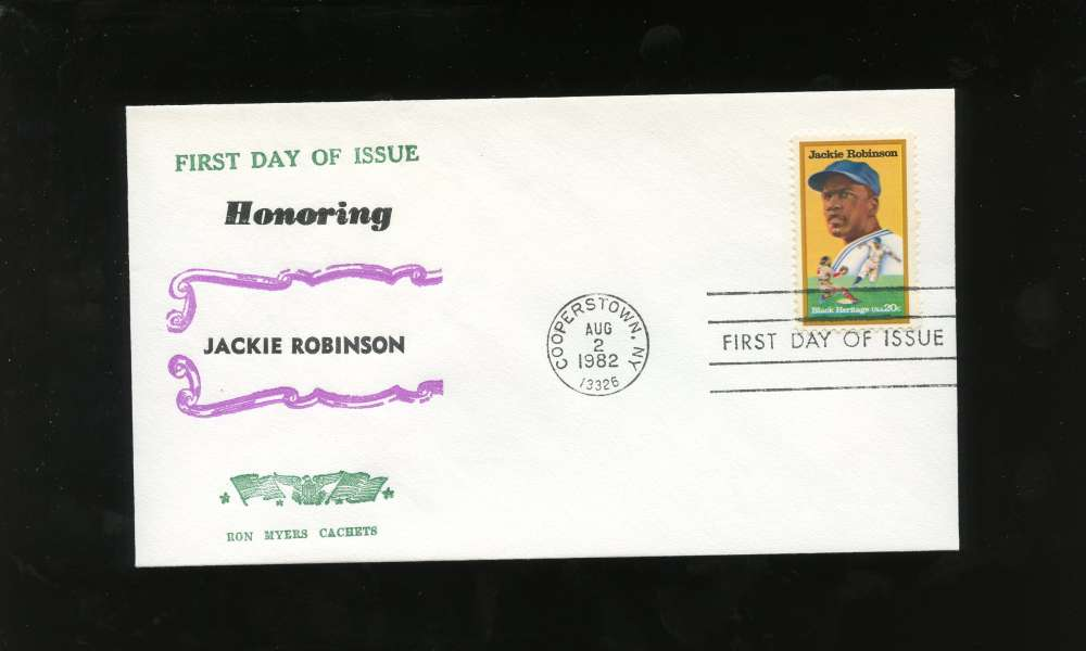 Jackie Robinson First Day Issue Honoring Black Heritage Series Letter Envelope Cooperstown Stamp Brooklyn Dodgers