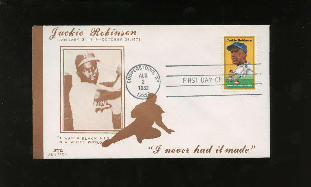 Jackie Robinson First Day Issue Sepia Photo Slide Black Heritage Series Letter Envelope Cooperstown Stamp Brooklyn Dodgers