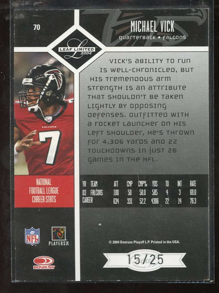 Michael Vick Spotlight /25 Gold Refractor Parallel 2004 Leaf Limited Falcons