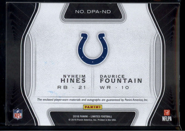 2018 Panini Limited Dual Patch Auto Combinations #1 Daurice Fountain/Nyheim Hines Mint Jersey Patch Auto /75 Indianapolis Colts